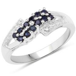 Srebrny pierścionek z 12 naturalnymi szafirami 0,48 ct