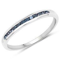 Srebrny pierścionek z 12 niebieskimi diamentami 0,18 ct