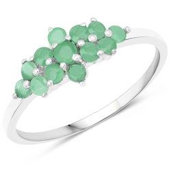 Srebrny pierścionek z 13 naturalnymi szmaragdami 0,68 ct