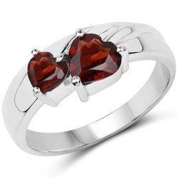 Srebrny pierścionek z 2 naturalnymi granatami 1,31 ct