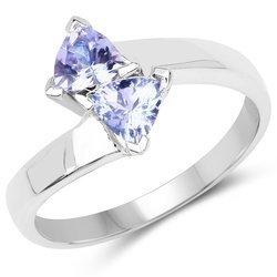 Srebrny pierścionek z 2 naturalnymi tanzanitami 0,86 ct