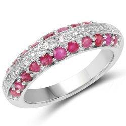 Srebrny pierścionek z 22 rubinami i 2 kryształami górskimi 1,01 ct