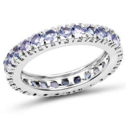 Srebrny pierścionek z 24 naturalnymi tanzanitami 1,68 ct