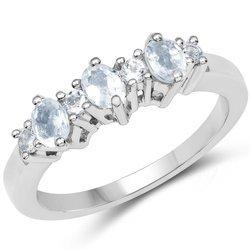 Srebrny pierścionek z 3 akwamarynami i 4 topazami niebieskimi 0,59 ct