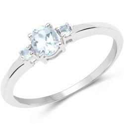 Srebrny pierścionek z 3 naturalnymi akwamarynami 0,41 ct