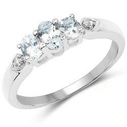 Srebrny pierścionek z 3 naturalnymi akwamarynami i kryształami górskimi 0,61 ct