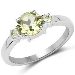 Srebrny pierścionek z 3 naturalnymi perydotami 1,23 ct