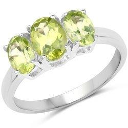 Srebrny pierścionek z 3 naturalnymi perydotami 1,73 ct