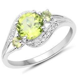 Srebrny pierścionek z 3 naturalnymi perydotami i 10 kryształami górskimi 1,58 ct