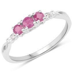 Srebrny pierścionek z 3 naturalnymi rubinami i diamentami 0,33 ct