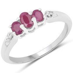 Srebrny pierścionek z 3 naturalnymi rubinami i kryształami górskimi 0,86 ct