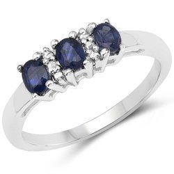 Srebrny pierścionek z 3 naturalnymi szafirami niebieskimi i 2 diamentami 0,67 ct