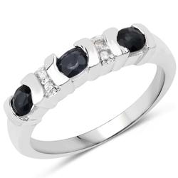 Srebrny pierścionek z 3 naturalnymi szafirami niebieskimi i 4 kryształami górskimi 0,79 ct