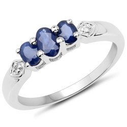 Srebrny pierścionek z 3 naturalnymi szafirami oraz kryształami górskimi 0,86 ct