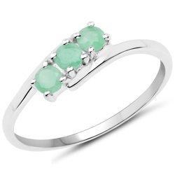 Srebrny pierścionek z 3 naturalnymi szmaragdami 0,36 ct