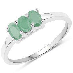 Srebrny pierścionek z 3 naturalnymi szmaragdami 0,81 ct