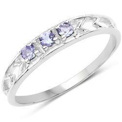 Srebrny pierścionek z 3 naturalnymi tanzanitami 0,20 ct