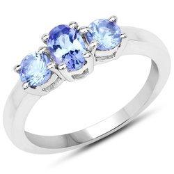 Srebrny pierścionek z 3 naturalnymi tanzanitami 0,90 ct