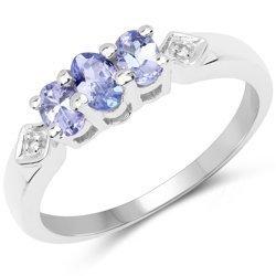 Srebrny pierścionek z 3 naturalnymi tanzanitami i 2 kryształami górskimi 0,60 ct