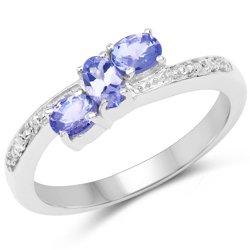 Srebrny pierścionek z 3 naturalnymi tanzanitami i 4 diamentami 0,61 ct