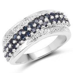 Srebrny pierścionek z 30 naturalnymi szafirami i 2 diamentami 1,36 ct