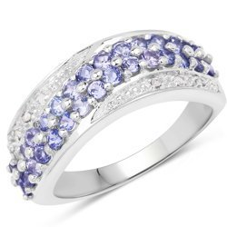 Srebrny pierścionek z 30 naturalnymi tanzanitami i 6 diamentami 0,93 ct