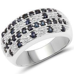 Srebrny pierścionek z 34 naturalnymi szafirami niebieskimi 1,02 ct