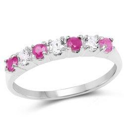 Srebrny pierścionek z 4 naturalnymi rubinami i 3 kryształami górskimi 0,54 ct