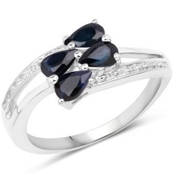 Srebrny pierścionek z 4 naturalnymi szafirami niebieskimi 1 ct