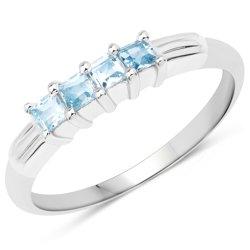 Srebrny pierścionek z 4 naturalnymi topazami niebieskimi 0,48 ct