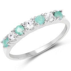 Srebrny pierścionek z 4 szmaragdami i 3 kryształami górskimi 0,46 ct