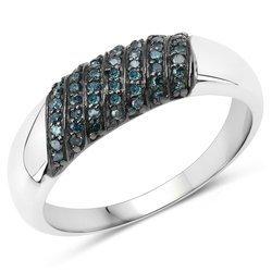 Srebrny pierścionek z 49 naturalnymi niebieskmi diamentami brylanty 0,25 ct