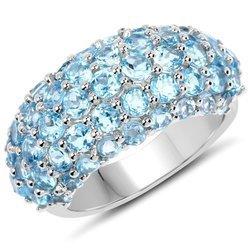 Srebrny pierścionek z 49 naturalnymi topazami niebieskimi 4,11 ct
