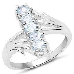 Srebrny pierścionek z 5 naturalnymi akwamarynami 1,00 ct