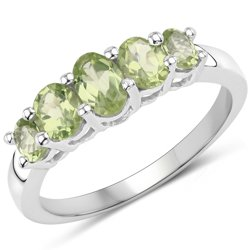 Srebrny pierścionek z 5 naturalnymi perydotami 1,49 ct