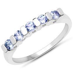 Srebrny pierścionek z 5 naturalnymi tanzanitami 0,38 ct