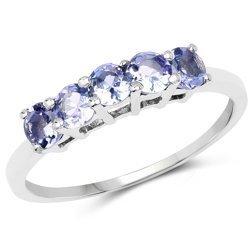 Srebrny pierścionek z 5 naturalnymi tanzanitami 0,60 ct
