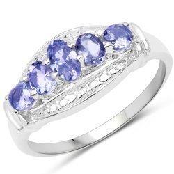 Srebrny pierścionek z 5 naturalnymi tanzanitami 0,83 ct