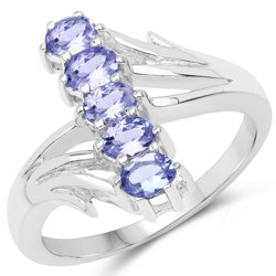 Srebrny pierścionek z 5 naturalnymi tanzanitami 0,85 ct