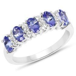 Srebrny pierścionek z 5 naturalnymi tanzanitami i 12 kryształami górskimi 1,51 ct