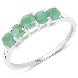 Srebrny pierścionek z 5 pięknymi naturalnymi szmaragdami 0,75 ct
