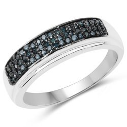 Srebrny pierścionek z 54 naturalnymi niebieskmi diamentami brylanty 0,31 ct
