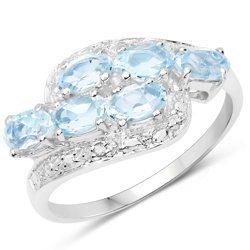 Srebrny pierścionek z 6 naturalnymi topazami niebieskimi 2,10 ct