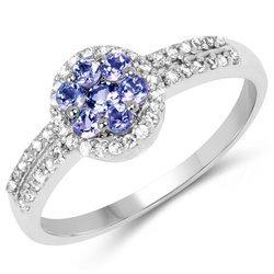 Srebrny pierścionek z 7 naturalnymi tanzanitami i 41 kryształami górskimi 0,75 ct