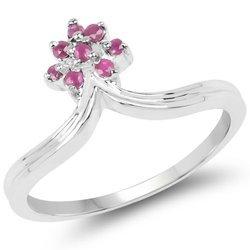 Srebrny pierścionek z 8 naturalnymi rubinami 0,21 ct
