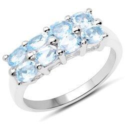 Srebrny pierścionek z 8 naturalnymi topazami niebieskimi 2,00 ct