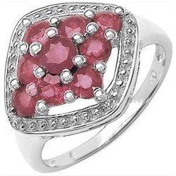 Srebrny pierścionek z 9 naturalnymi rubinami 1,30 ct rozm. 15
