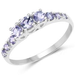 Srebrny pierścionek z 9 naturalnymi tanzanitami 0,53 ct