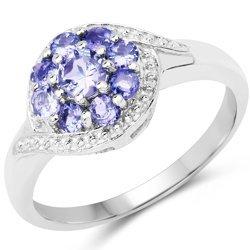 Srebrny pierścionek z 9 naturalnymi tanzanitami 0,66 ct