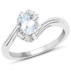 Srebrny pierścionek z akwamarynem i kryształami górskimi 0,78 ct
